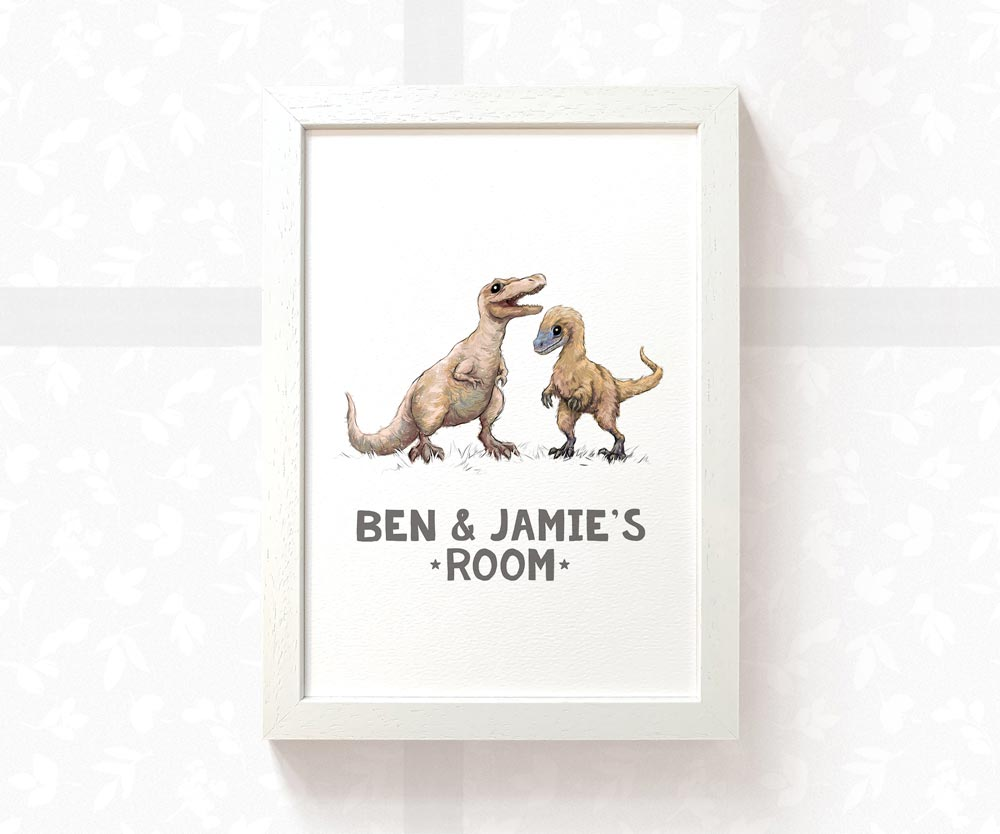 Two dinosaurs bedroom sign with custom names