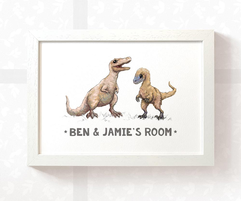 T-Rex and Velociraptor room sign with custom names