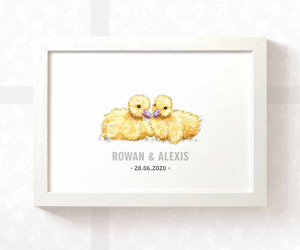 Twin baby duck name print
