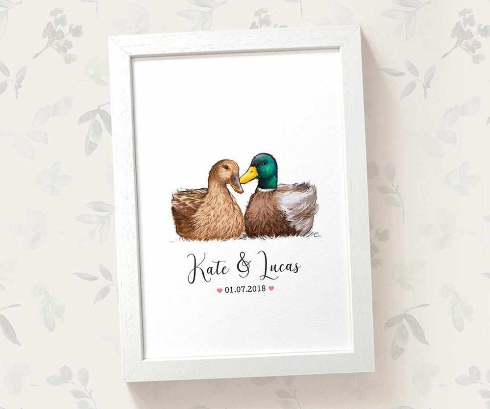 mallard duck anniversary print with names and date