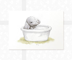 elephant in bath tub baby print