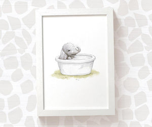 Baby elephant in bath tub nursery print