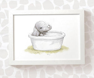 Baby elephant in bathtub wall art