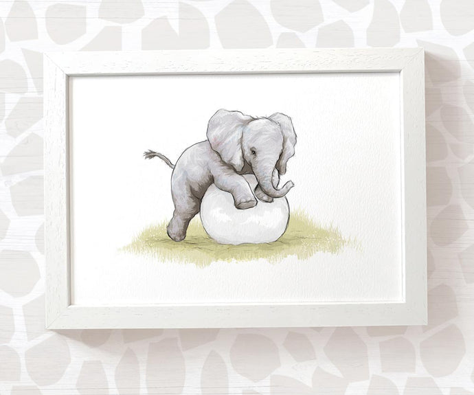 Baby elephant playing with ball nursery print