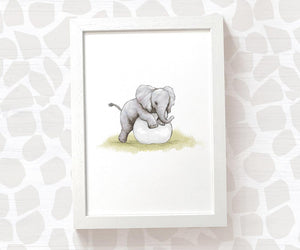 elephant baby print - playing with ball