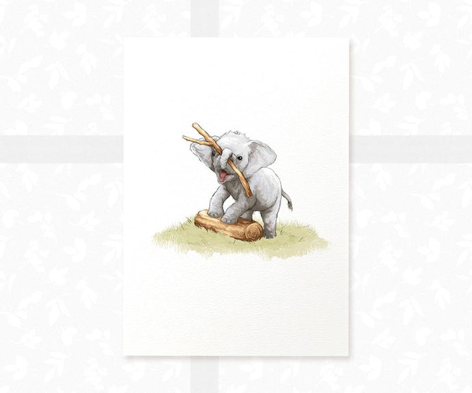 Baby elephant playing with stick nursery print