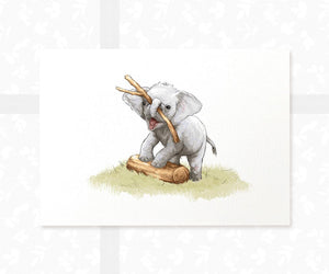 elephant baby print - playing with Stick