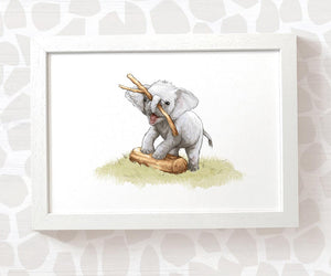 elephant nursery print - baby playing with stick