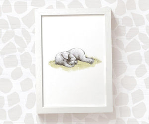 Sleeping elephant nursery print