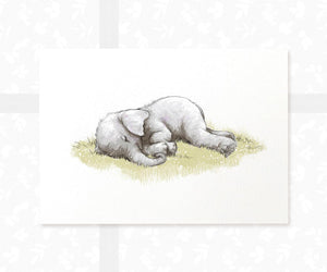 Sleeping baby elephant wall art
