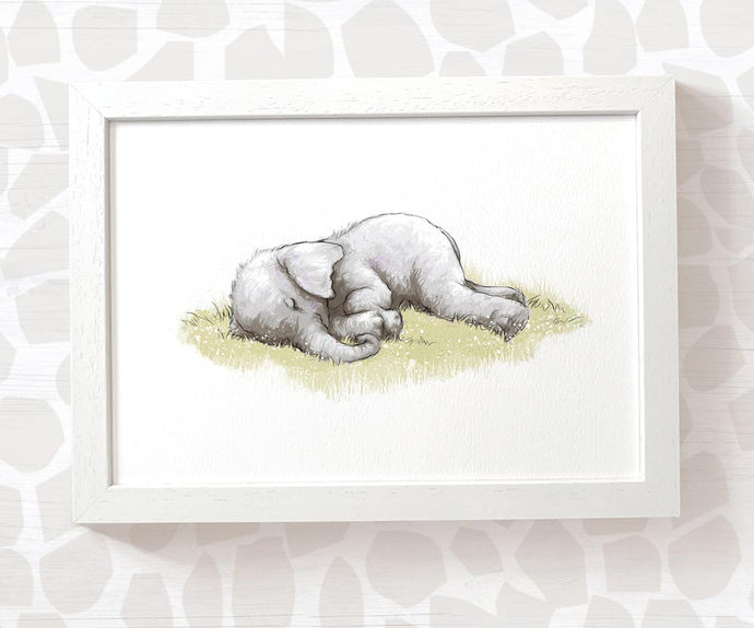 Sleeping baby elephant nursery print