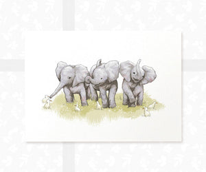 Elephant with ducks triplet baby print