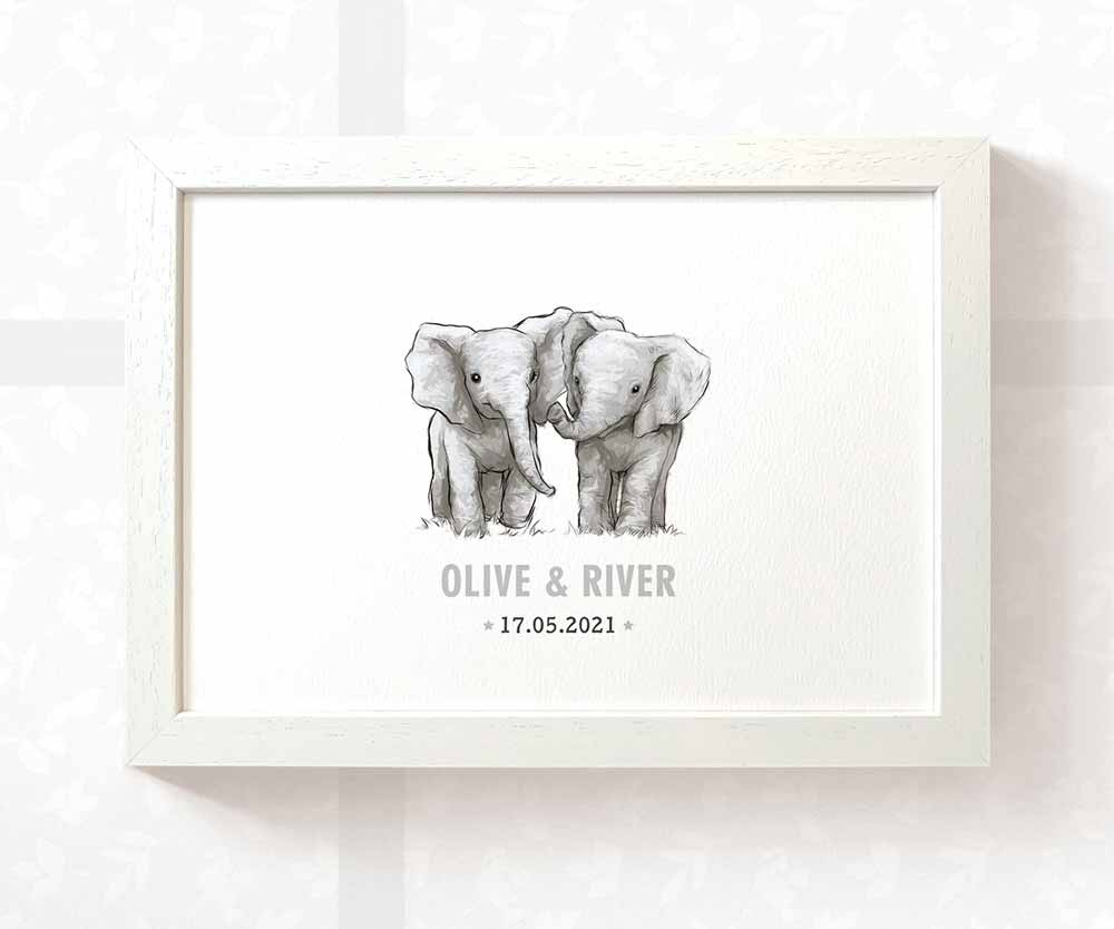 Elephant twin baby name date of birth print