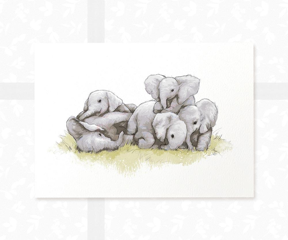 Cuddling Elephants Baby Art Print | Safari Nursery Wall Art - Pawprint Illustration
