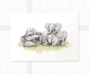 family of elephants cuddling wall art