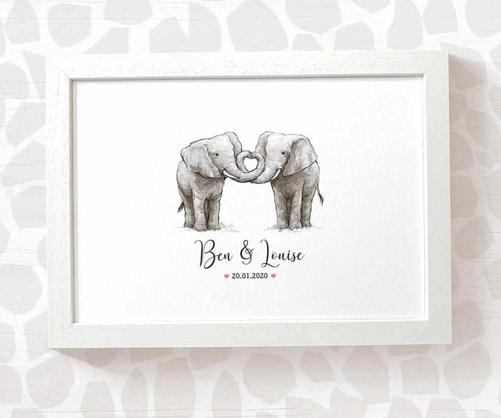 elephant anniversary print with names and date