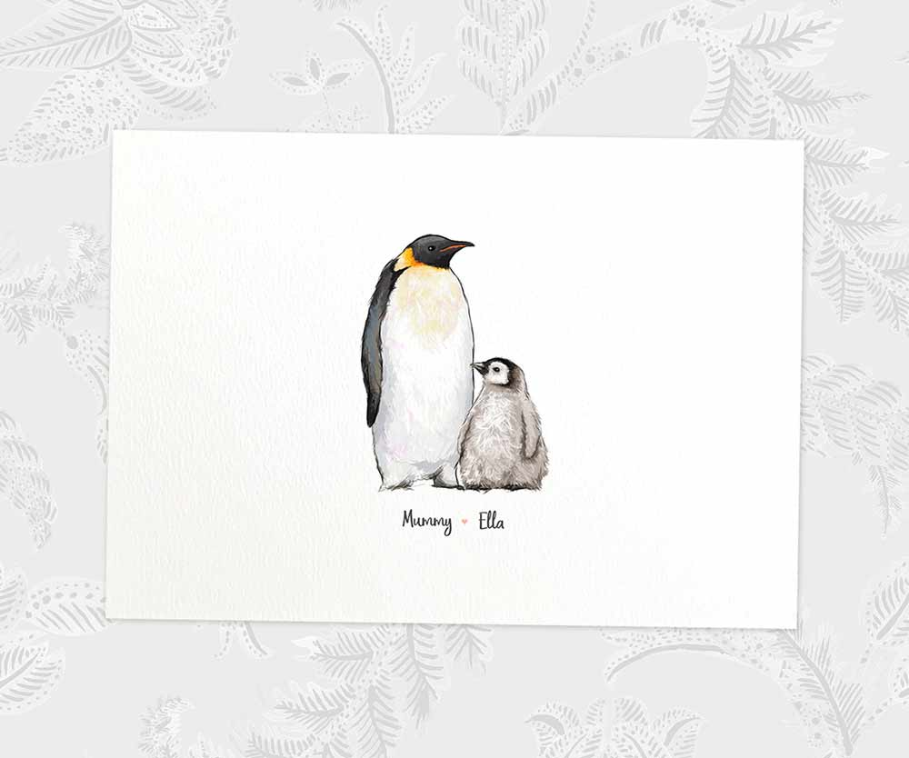 Mum and Baby emperor penguin print