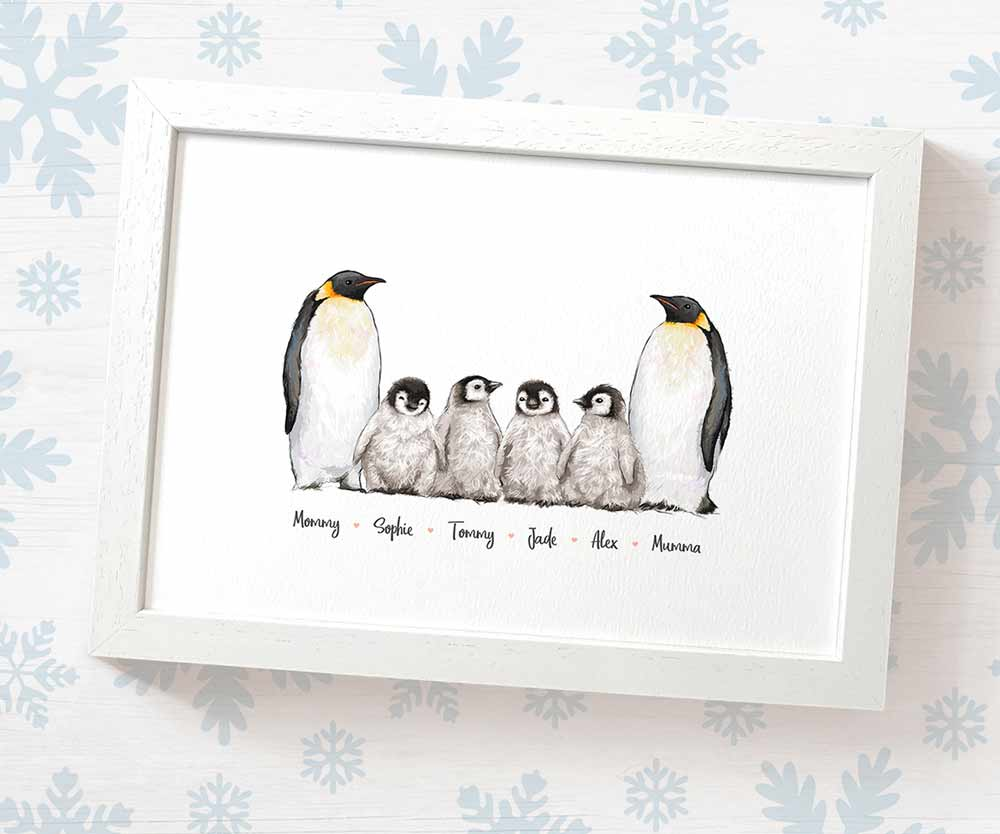 penguin family name print with parents and babies