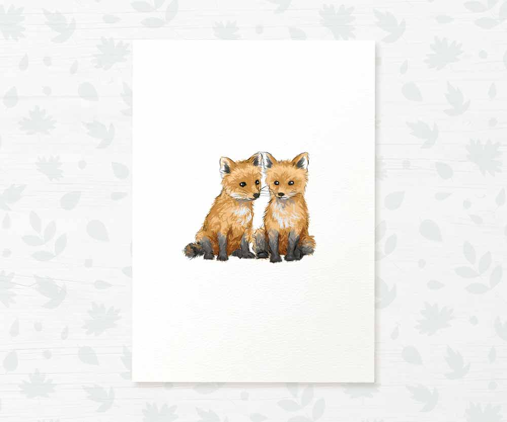 Twin baby foxes nursery print