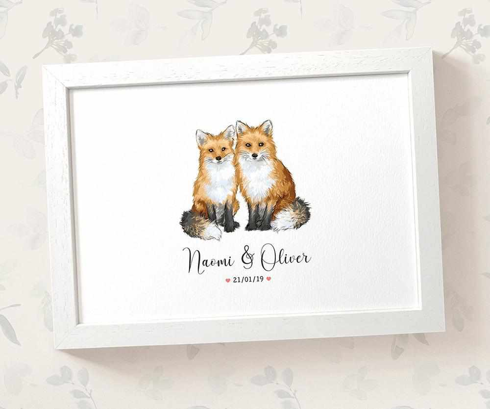 Fox anniversary print with names and date