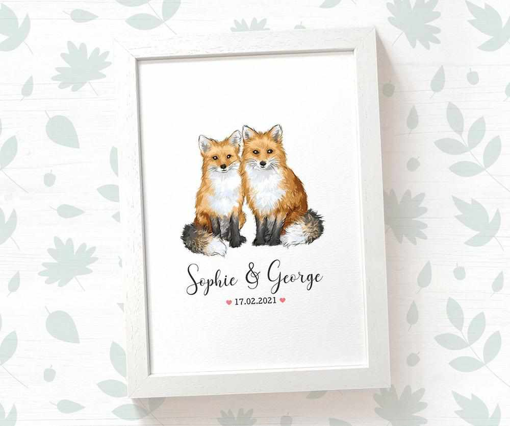 Fox couple wedding name and date print
