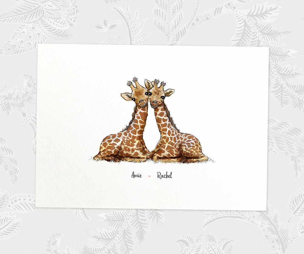 Giraffe couple names print