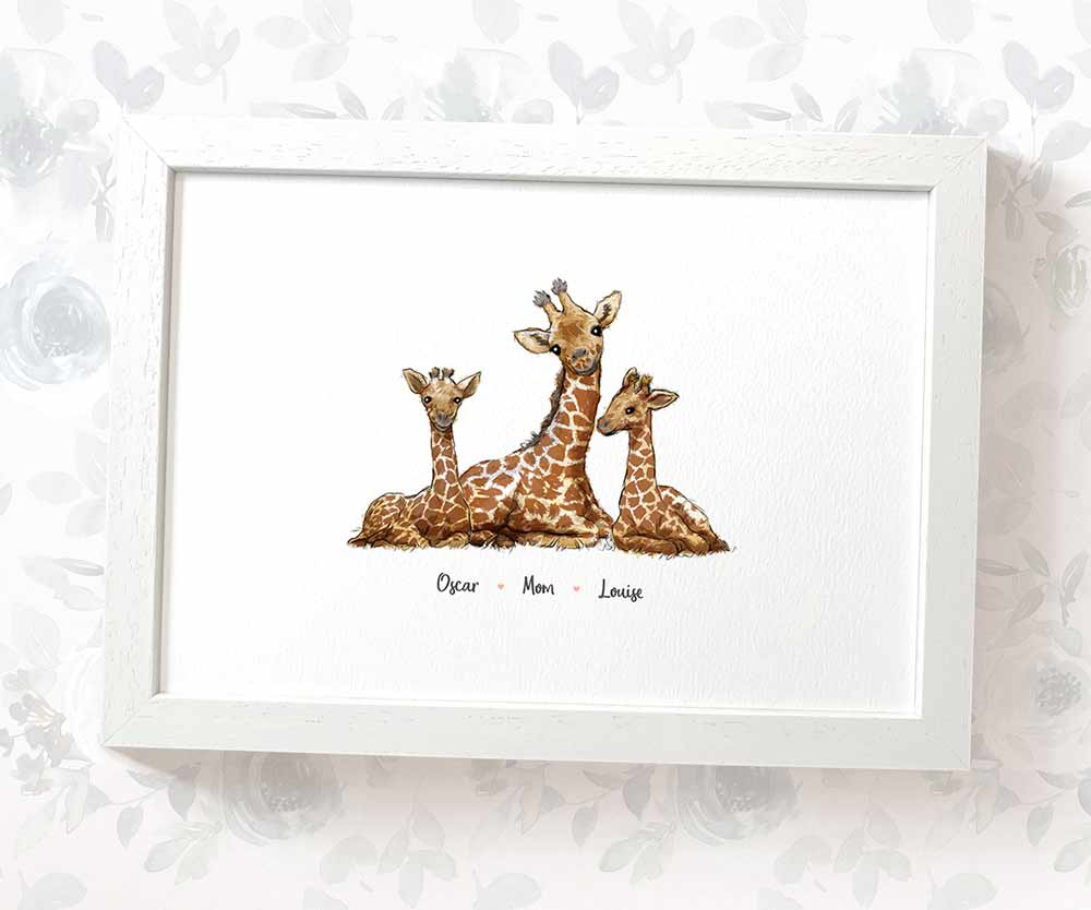 mother and children giraffe print with names