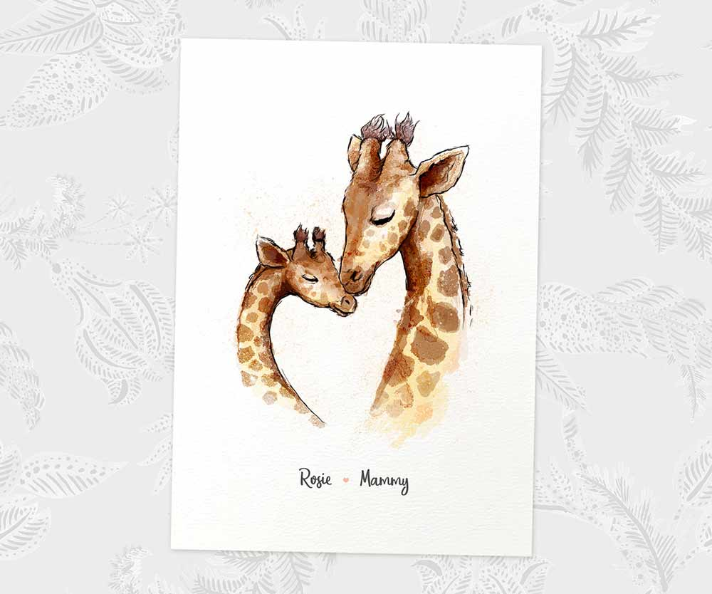 Giraffe mother and daughter print