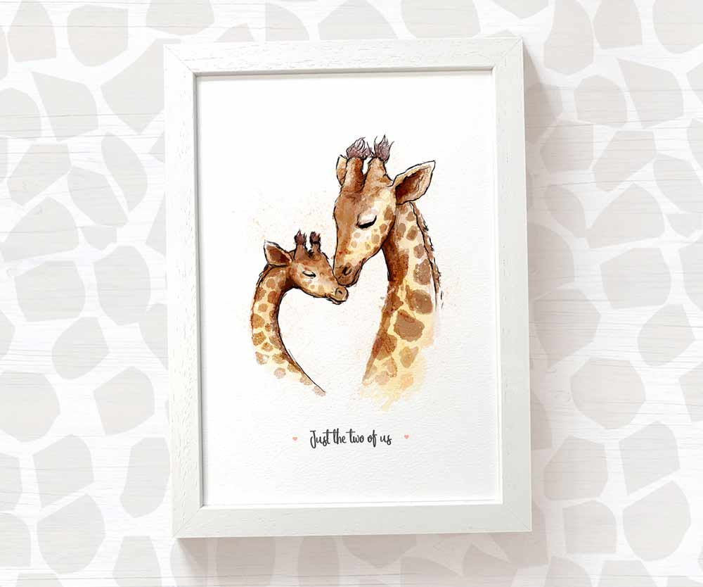 Giraffe print - father and baby