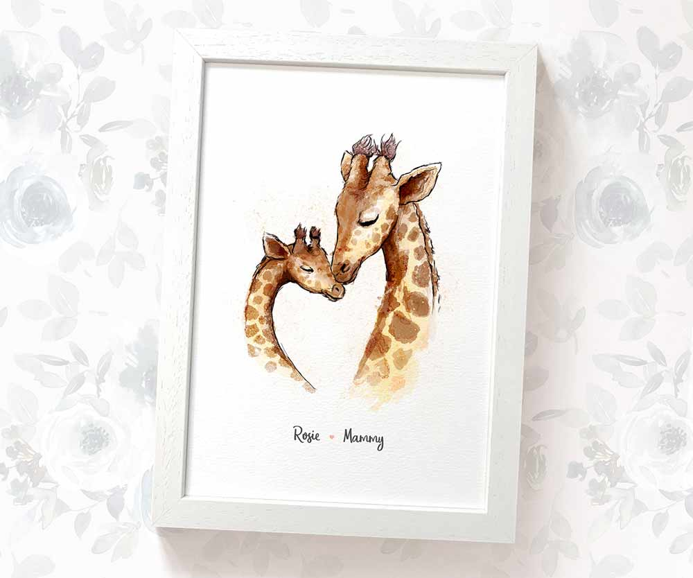 Giraffe mother and baby print with names