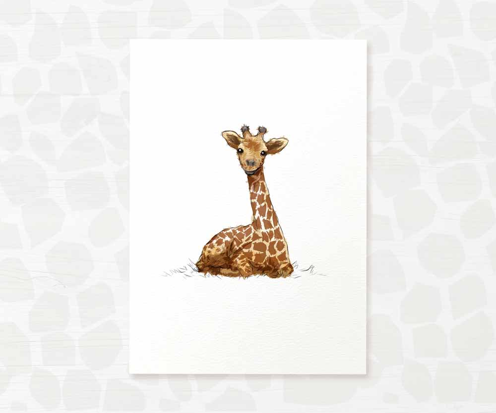 Baby giraffe nursery wall art