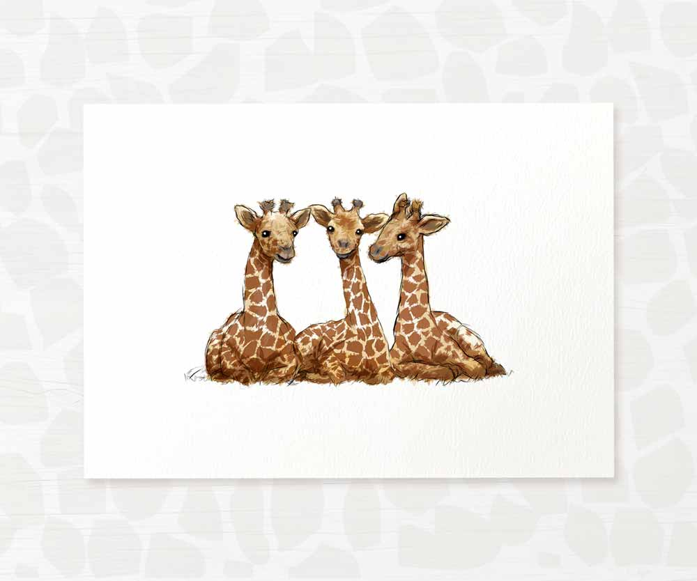 Giraffe triplets safari animal wall art