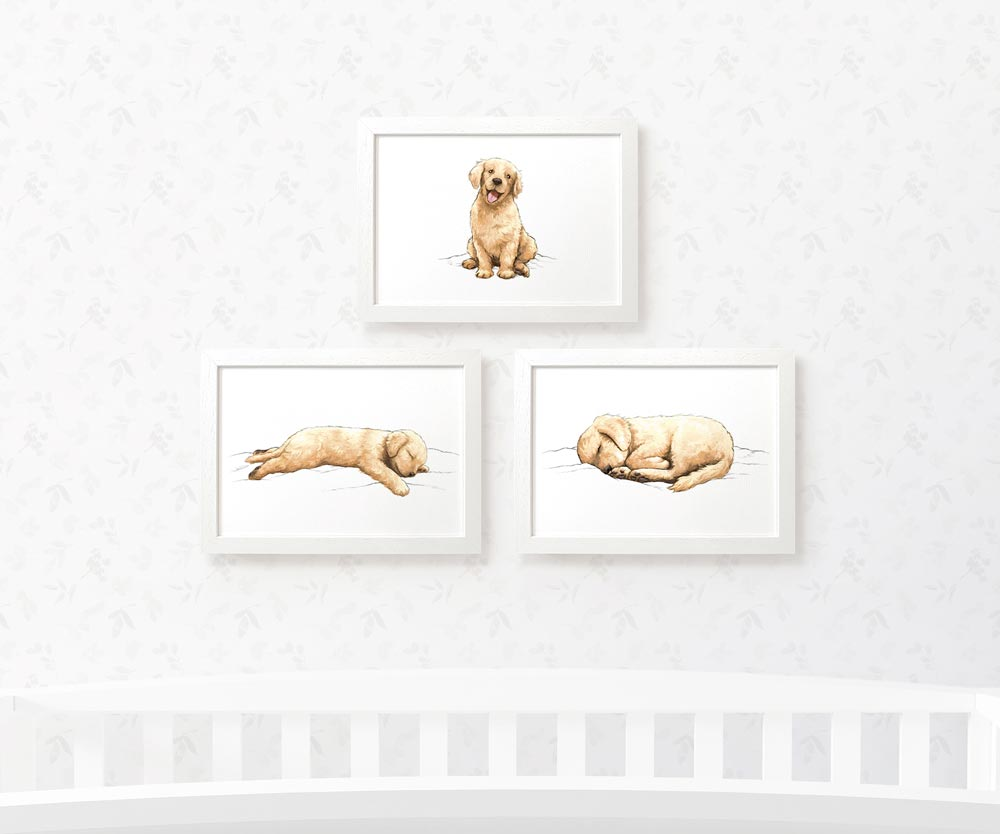 Golden Retriever Dog Prints Set of 3 | Puppy Wall Artwork - Pawprint Illustration
