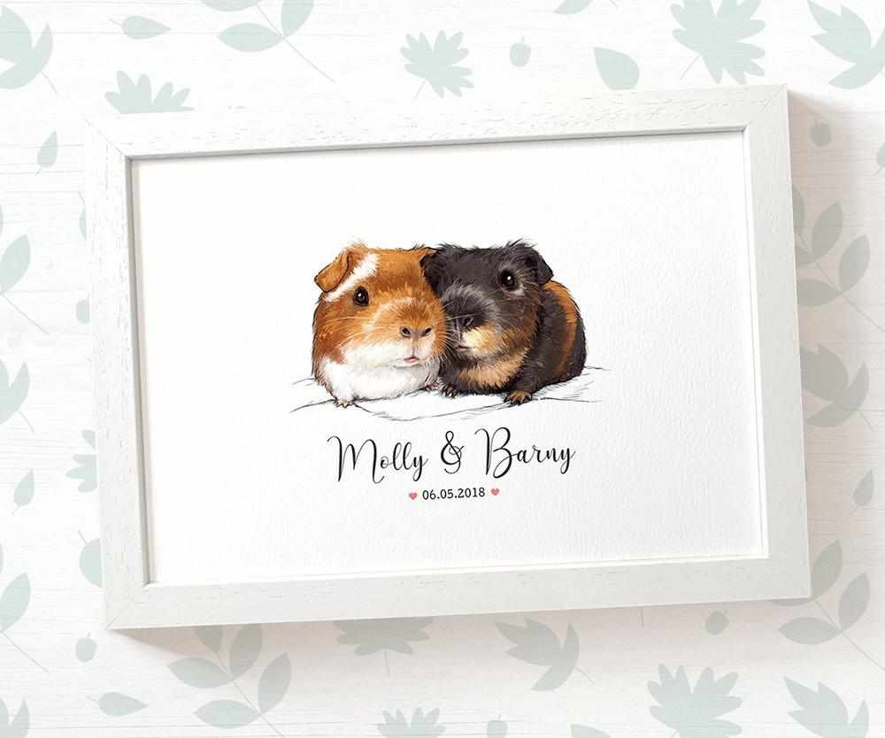 Guineapig couple wedding name and date print