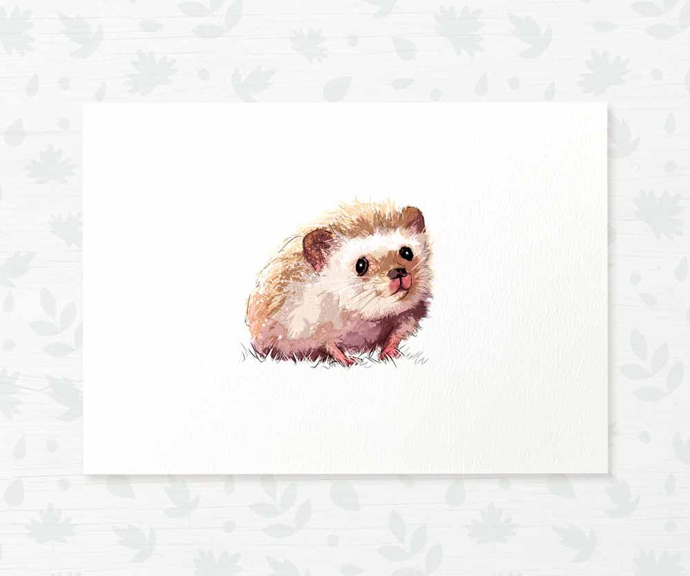 Hedgehog woodland baby room print