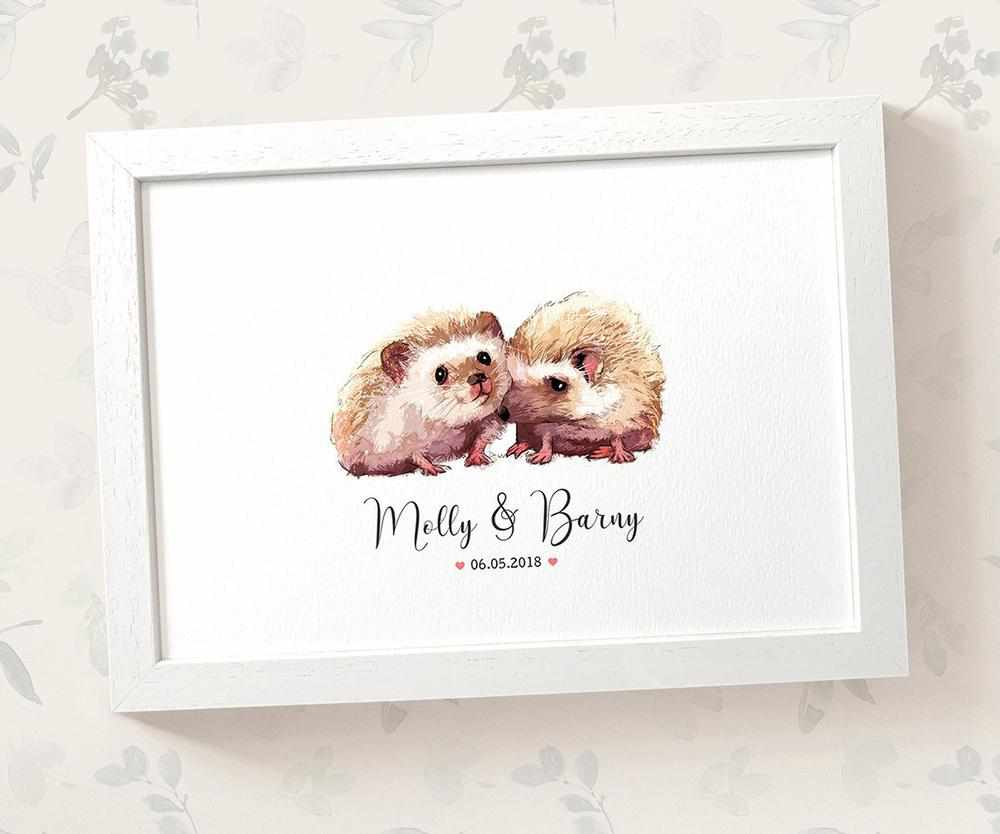 Hedgehog anniversary print with names and date