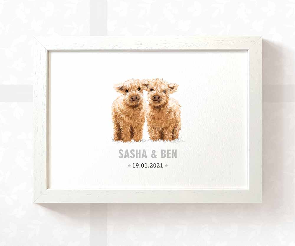 Hairy Cow twin baby name and date sign