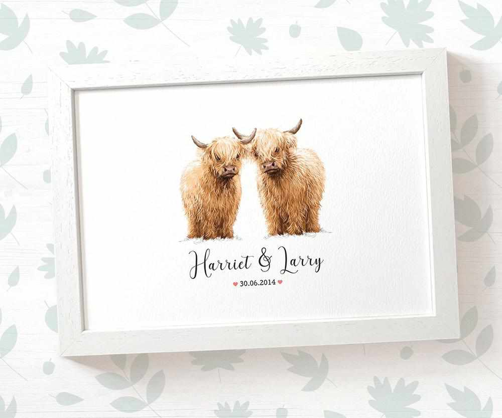 Highland Cow Wedding Print