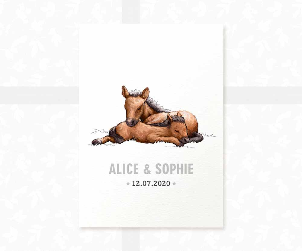 Horse twin nursery print with names