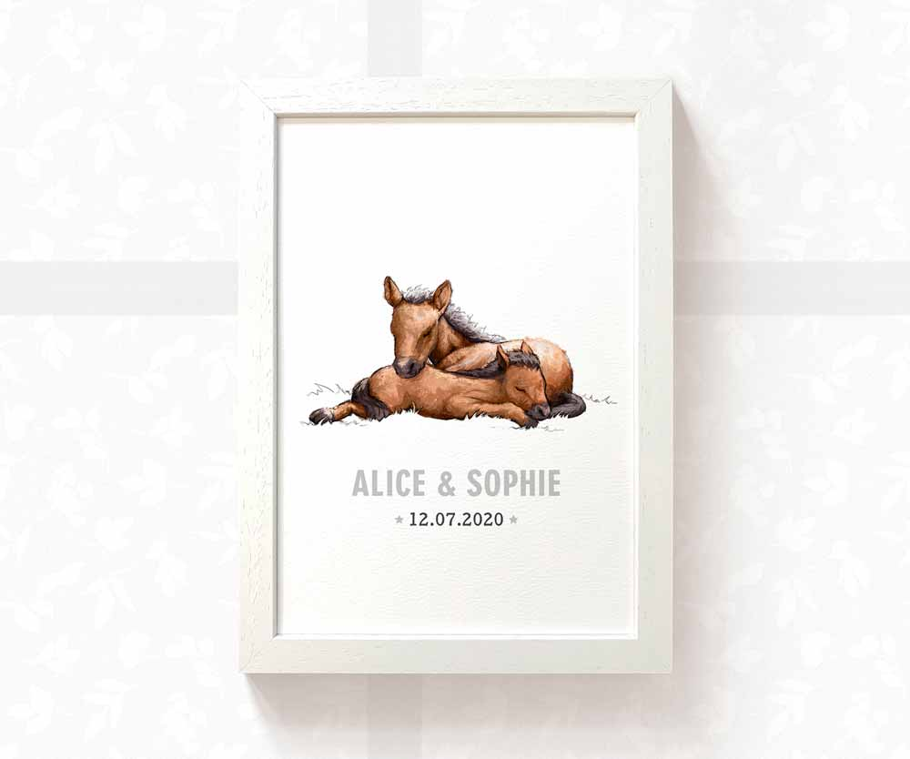 Twin baby horses name print