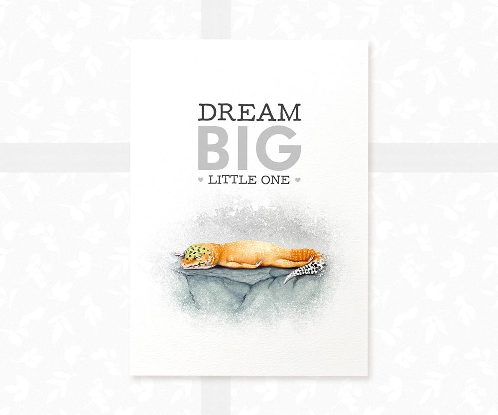 "Leopard Gecko nursery decor animal print with quote ""Dream big little one"""