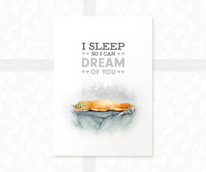 "Leopard Gecko Reptile Poster with quote ""I leep so I can dream of you"""