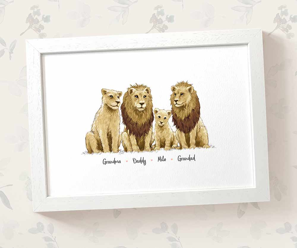 Lion family print with names