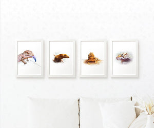 Reptile Prints Set of 4 | Lizard Wall Artwork