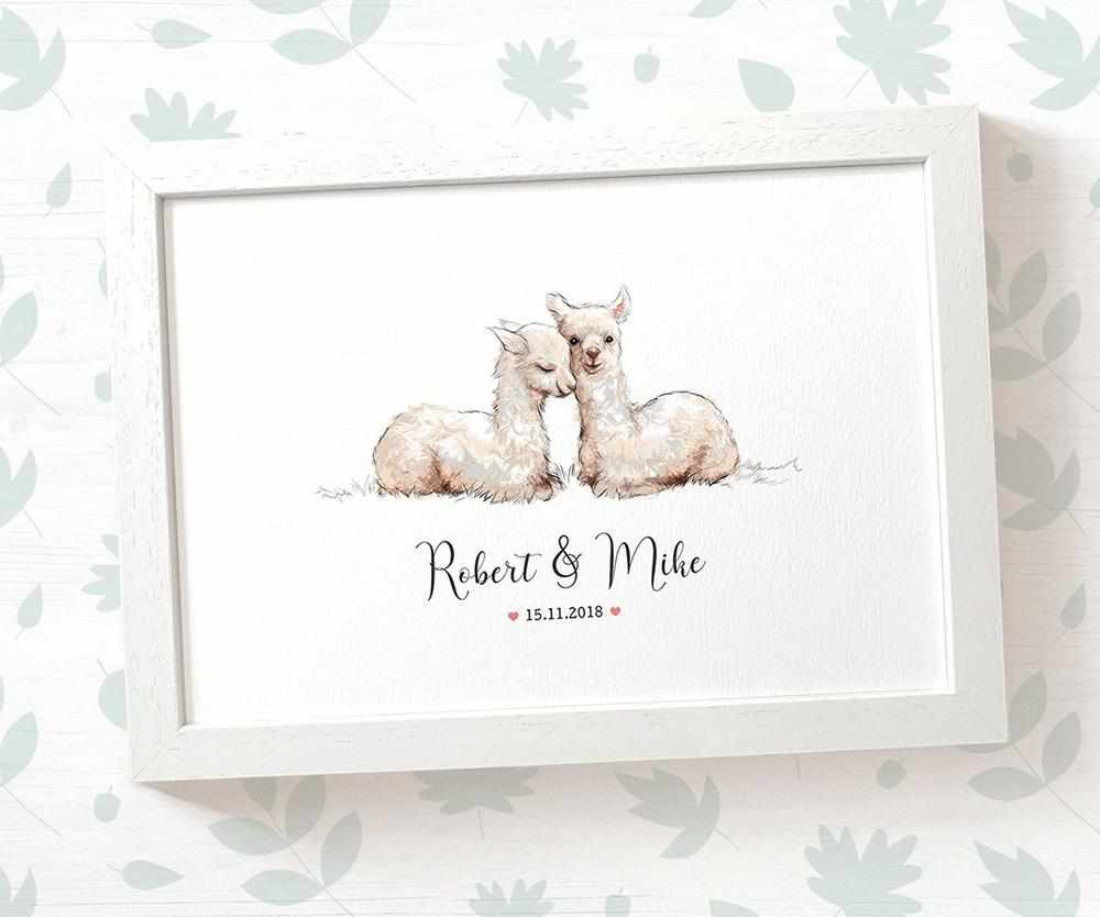 Llama couple wedding name and date print