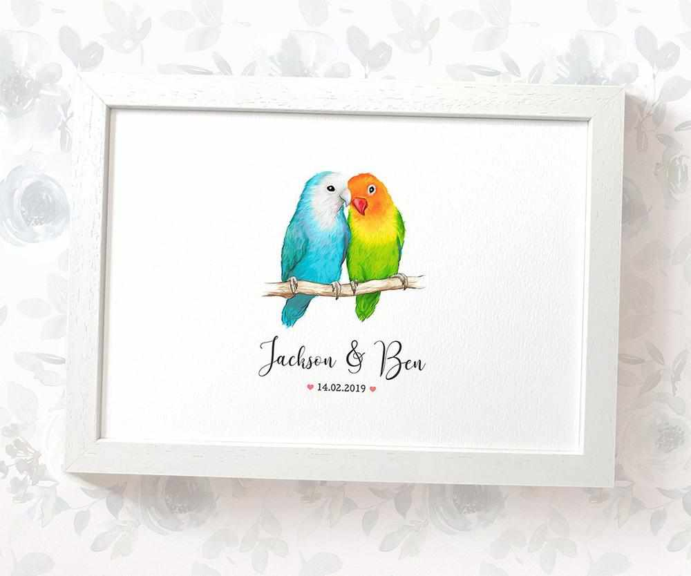 Lovebird couple wedding name and date print