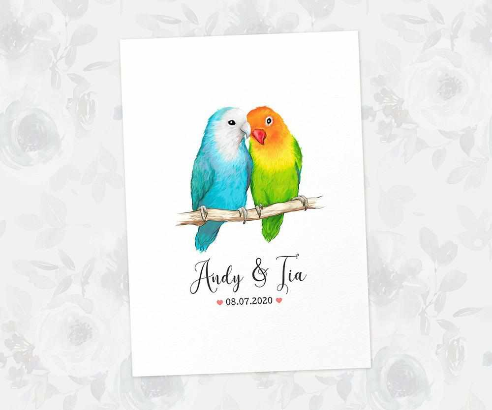 Lovebird bird wedding name sign