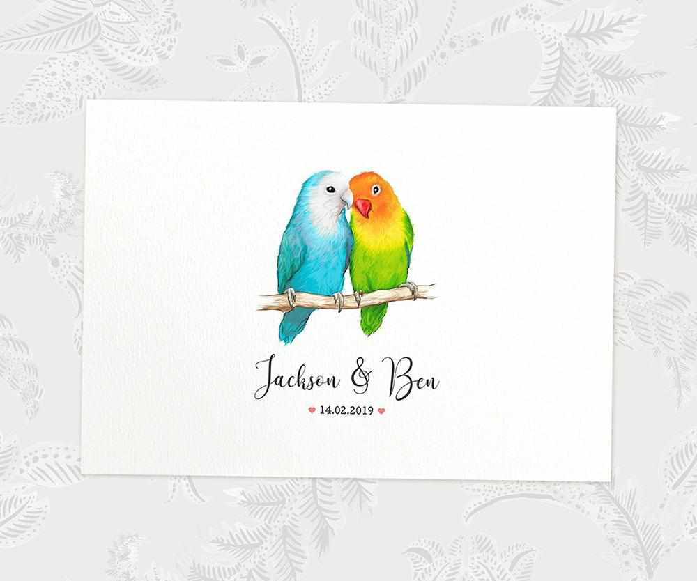 Lovebird anniversary print with names and date