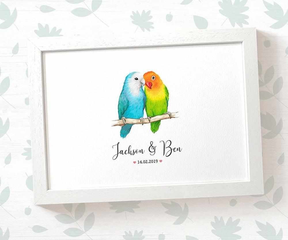 Lovebird wedding name sign
