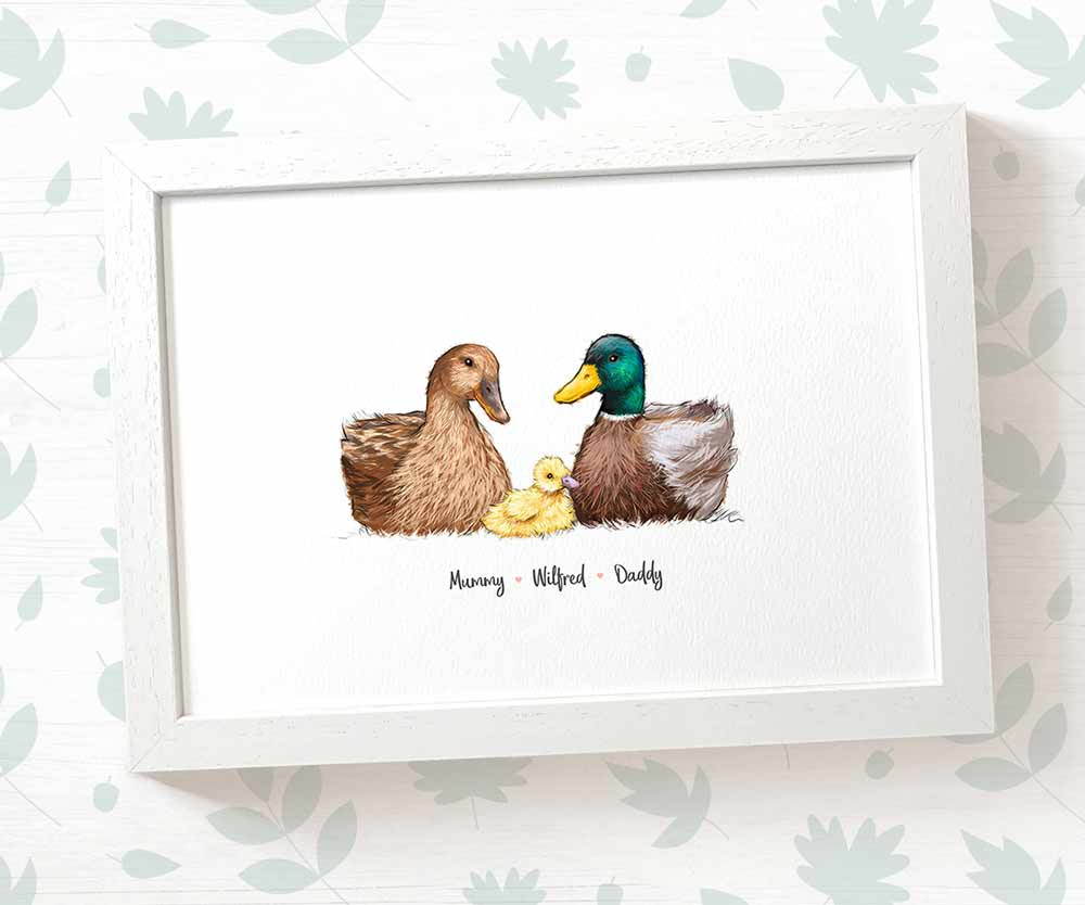 family of ducks art print with names